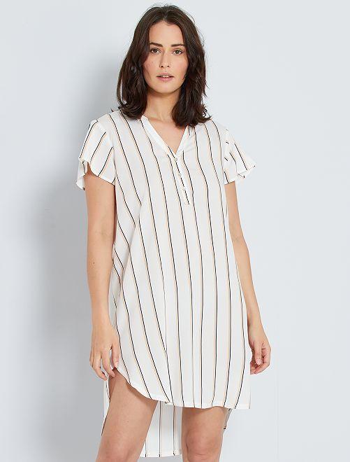 Camisa de rayas                             BLANCO