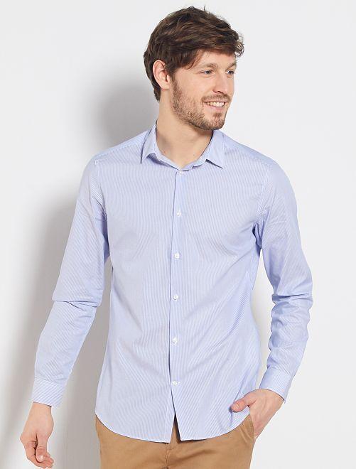 Camisa de rayas de popelina.                             blanco