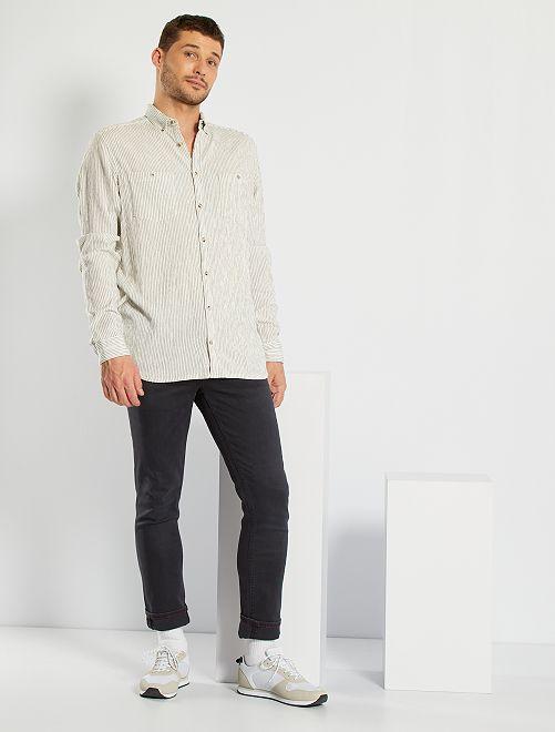 Camisa de rayas de punto de crepé 1,90 m                             BLANCO