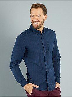 Camisas ciudad - Camisa de rayas de sarga de algodón