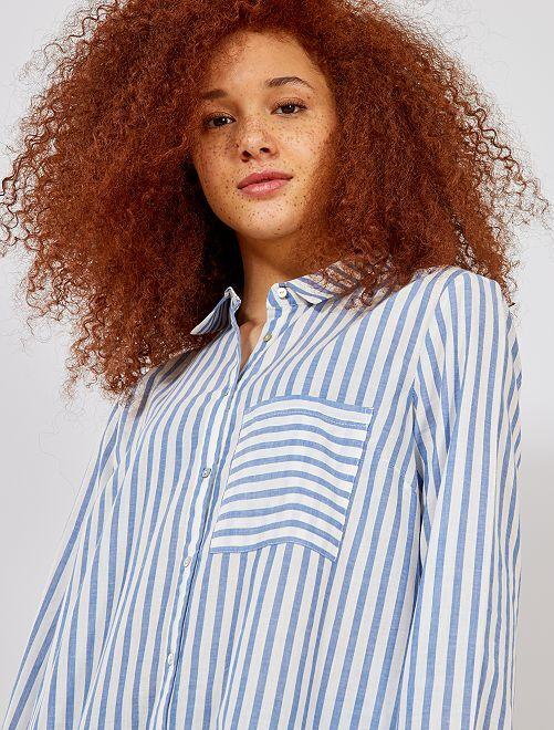 Camisa de rayas estilo oversize                             AZUL Mujer talla 34 a 48