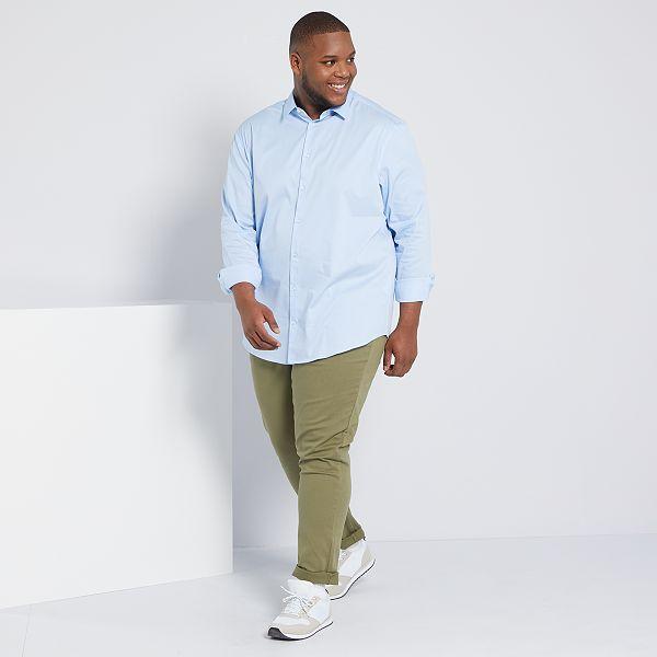 Camisa De Sarga Elastica Tallas Grandes Hombre Azul Kiabi 20 00