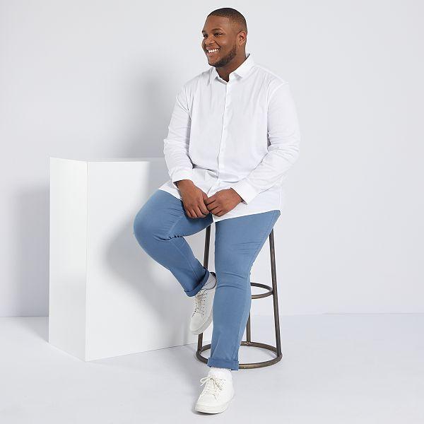 Camisa de sarga elástica Tallas grandes hombre blanco