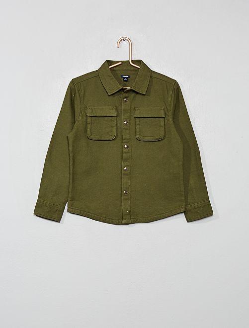 Camisa de tela gruesa                             verde oscuro