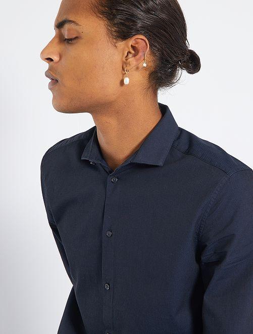 Camisa eco-concepción de algodón puro                                                                 azul navy