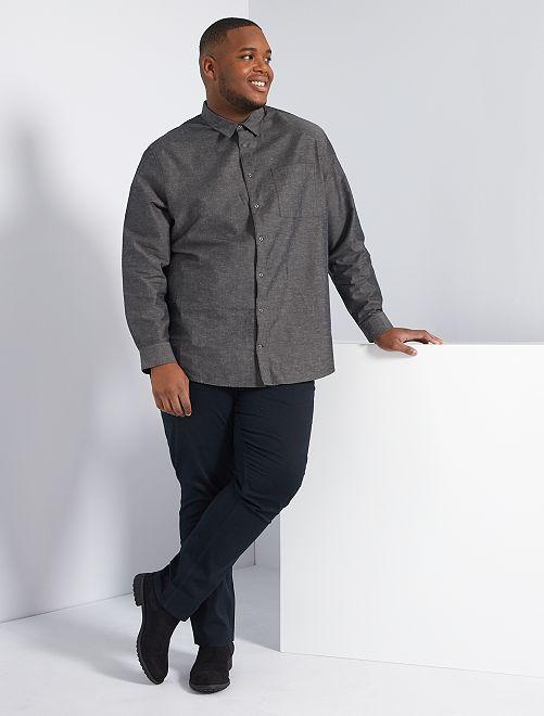 Camisa efecto perchado                             gris