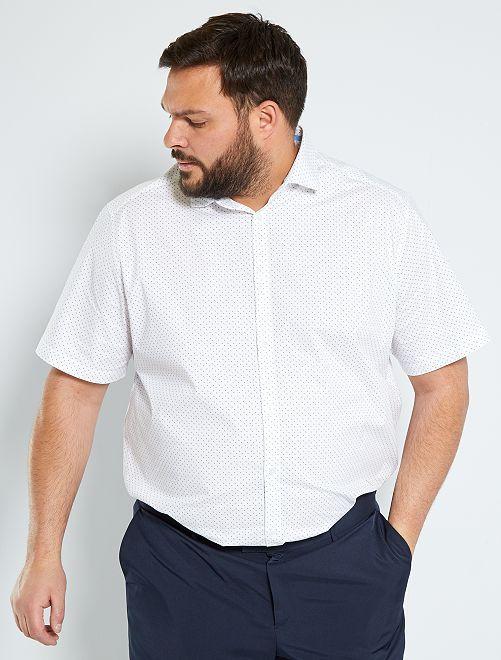 Camisa elástica con lunares                             BLANCO