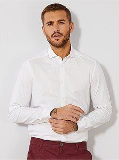 Hombre - Camisa entallada de algodón con efecto relieve - Kiabi