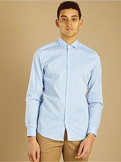 Hombre - Camisa entallada de algodón dobby - Kiabi