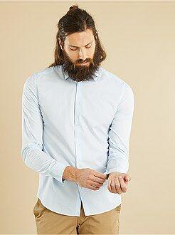 Hombre - Camisa entallada de popelina a rayas - Kiabi