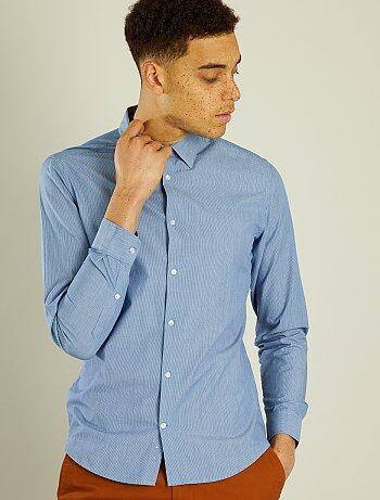 Hombre talla S-XXL - Camisa entallada de popelina a rayas - Kiabi