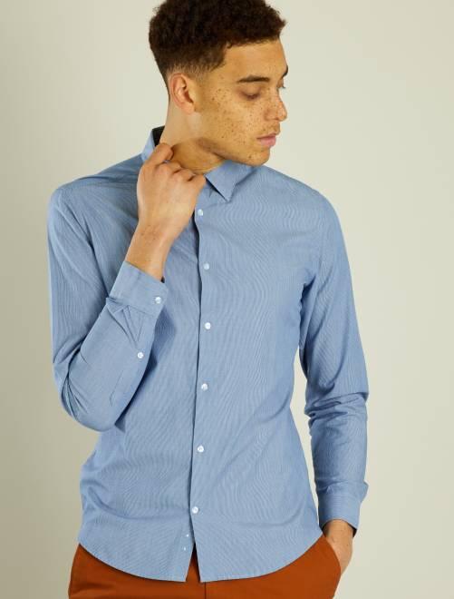 Camisa entallada de popelina a rayas                                                                                                     AZUL Hombre