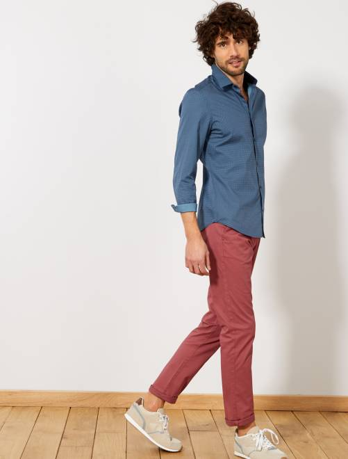Camisa vichy entallada de popelina                                                                     AZUL Hombre