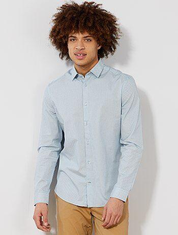 305b02ac076 Hombre talla S-XXL - Camisa entallada de popelina a rayas y lunares - Kiabi