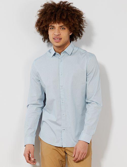 Camisa entallada de popelina a rayas y lunares                                                                     AZUL Hombre