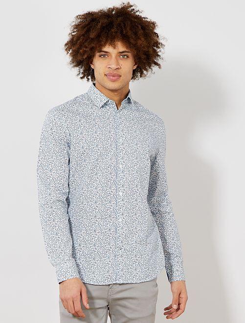 Camisa entallada de popelina a rayas y lunares                                                                                                     BLANCO Hombre