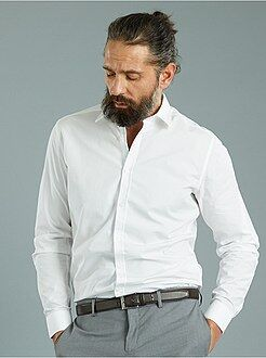 Camisas blancas - Camisa entallada de popelina con pequeños motivos