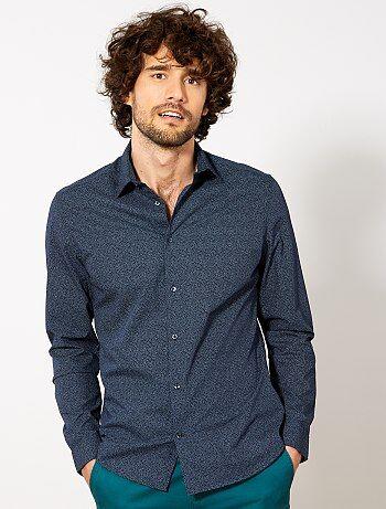 Hombre talla S-XXL - Camisa entallada de popelina de lunares - Kiabi c3f9b3ab2ab98
