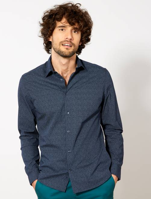 Camisa entallada de popelina de lunares                     AZUL Hombre
