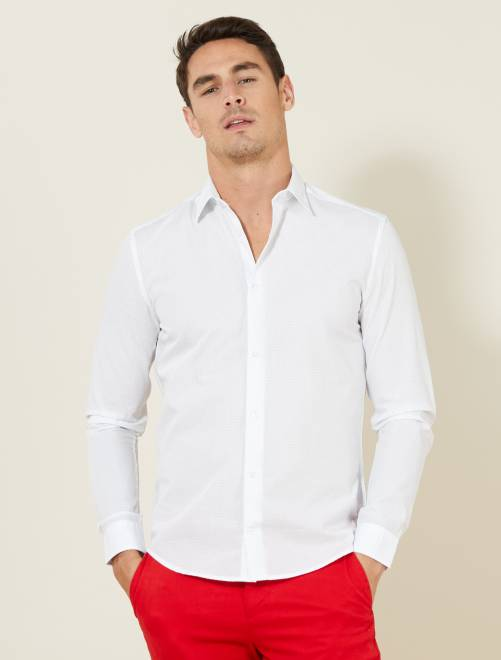 Camisa entallada de popelina de lunares BLANCO Hombre