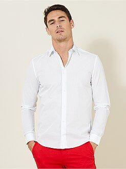 Hombre - Camisa entallada de popelina de lunares - Kiabi