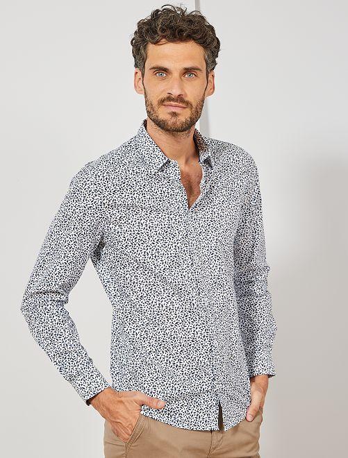Camisa entallada de popelina de lunares                                                                                         BLANCO