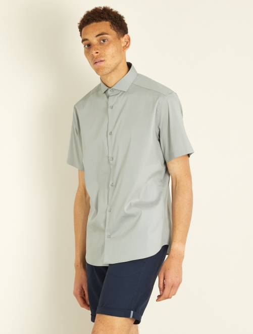 Camisa entallada de popelina elástica                                                     gris Hombre