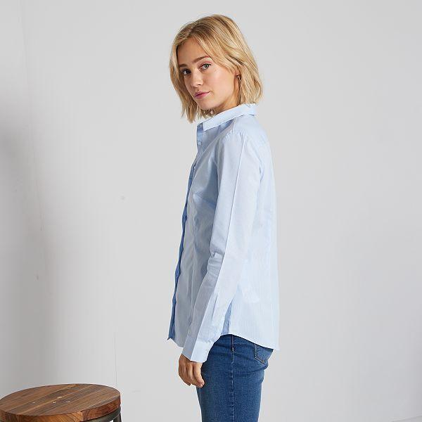Camisa entallada elástica de popelina Mujer talla 34 a 48