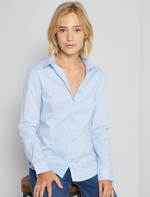 Camisa entallada elástica de popelina                                         a rayas azul Mujer talla 34 a 48