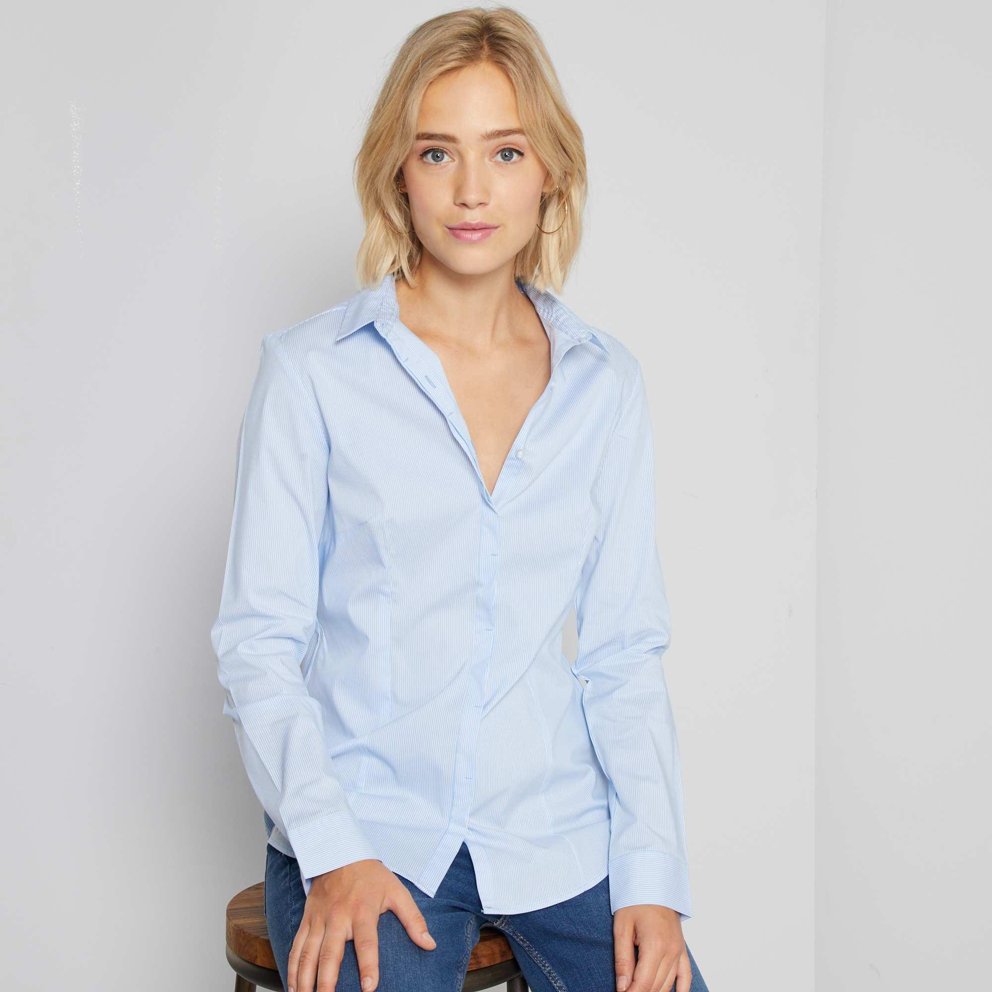 Camisa entallada elástica de popelina Mujer talla 34 to 48 - Kiabi ...