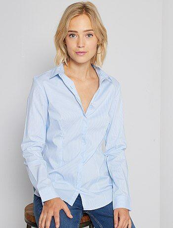 Camisa entallada elástica de popelina                                                     a rayas azul Mujer
