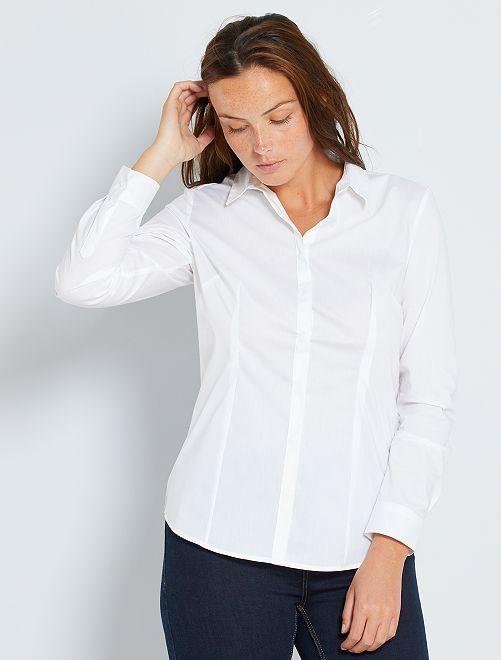 Camisa entallada elástica de popelina blanco Mujer