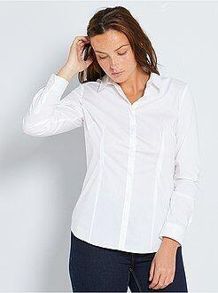 Mujer Camisa entallada elástica de popelina