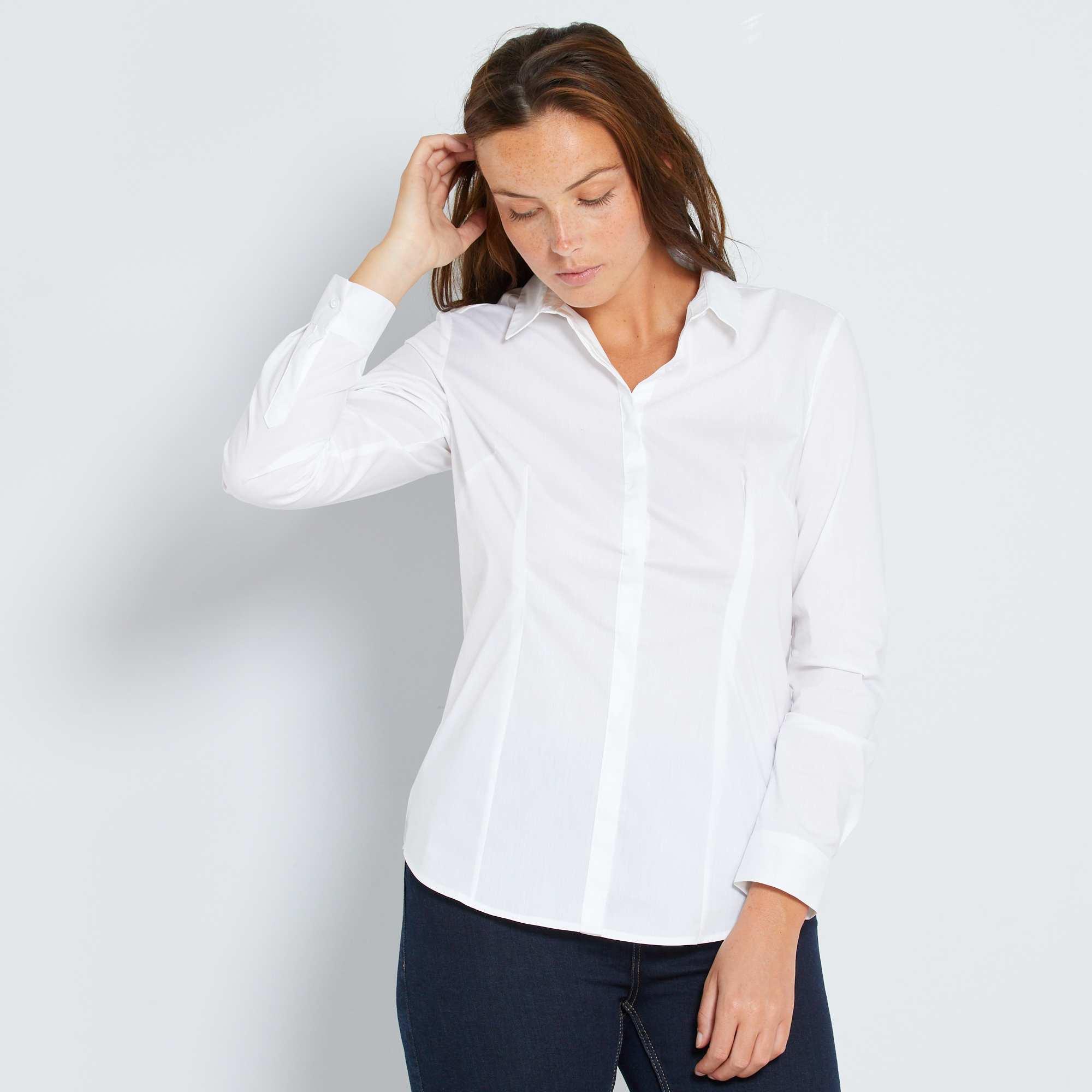 Camisa entallada elástica de popelina Mujer - blanco - Kiabi - 9,00€