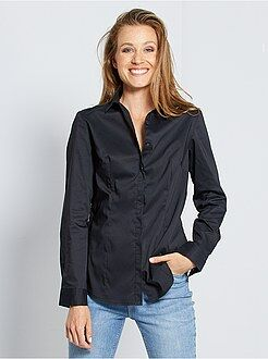 Mujer - Camisa entallada elástica de popelina - Kiabi