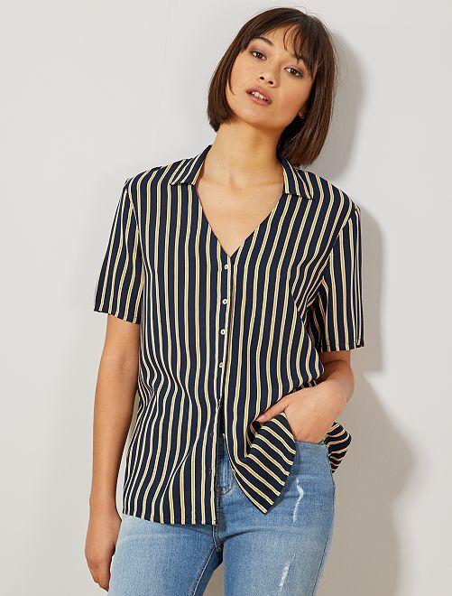 Camisa estampada anudada                                                                 AZUL Mujer talla 34 a 48