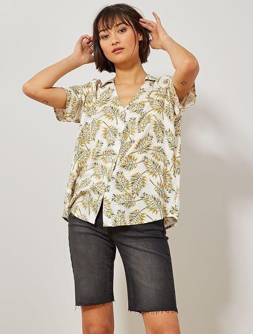 Camisa estampada anudada                                                                 BLANCO Mujer talla 34 a 48