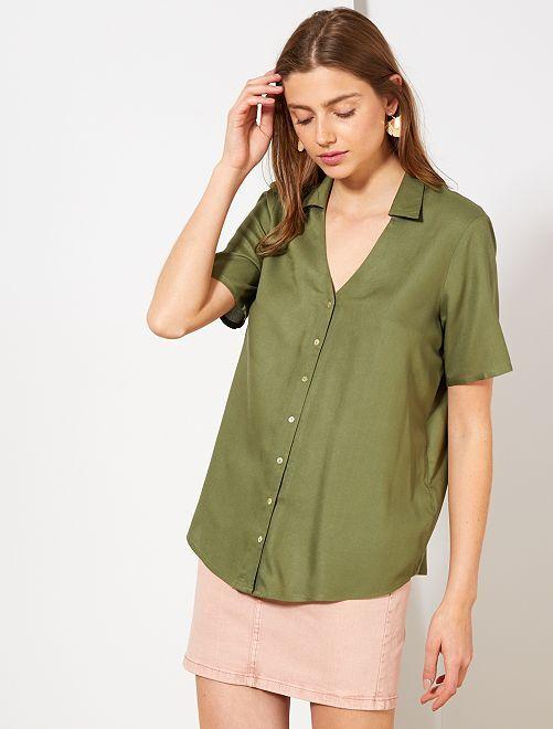 Camisa estampada anudada                                                                 VERDE Mujer talla 34 a 48