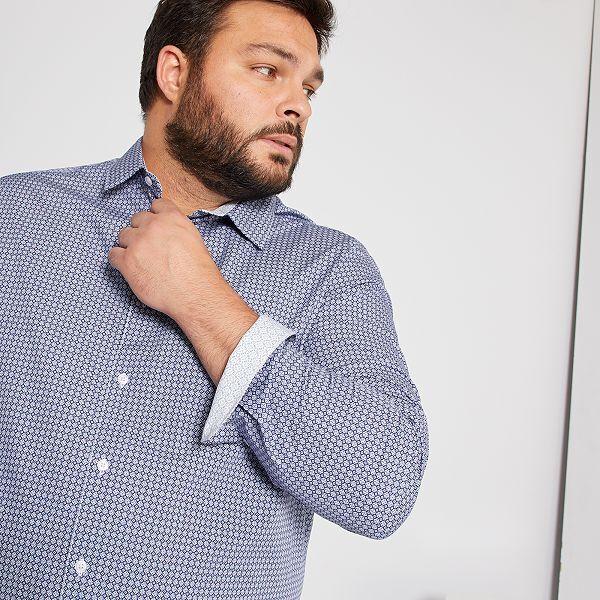 Camisa Estampada De Algodon Tallas Grandes Hombre Azul Kiabi 22 00