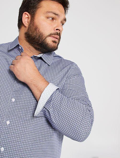 Camisa estampada de algodón                                         AZUL