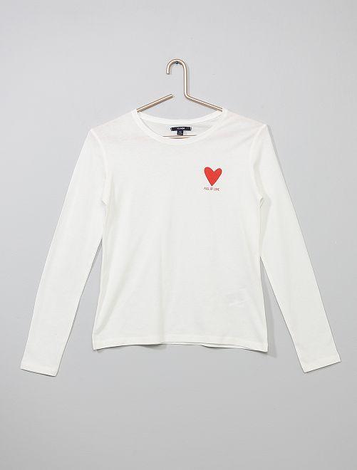 Camisa estampada de algodón puro                                                                 BLANCO Joven niña