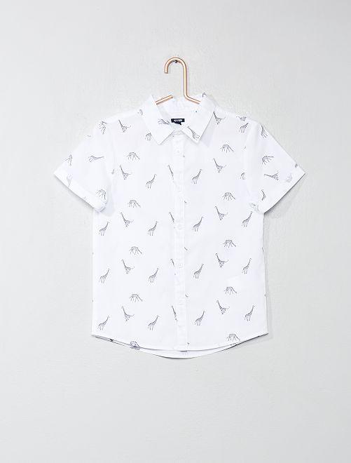 Camisa estampada de popelina                                 BLANCO Chico
