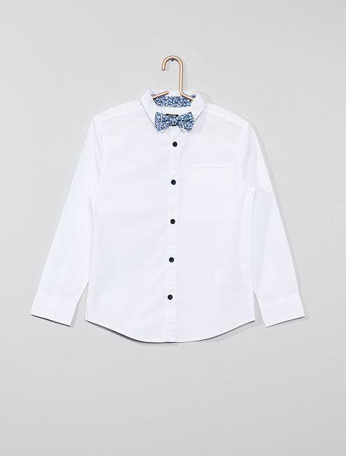 Camisa estampada + pajarita                             BLANCO Chico