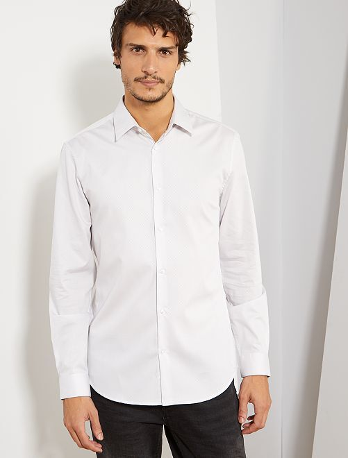 Camisa extra slim de dobby                                                                             BLANCO