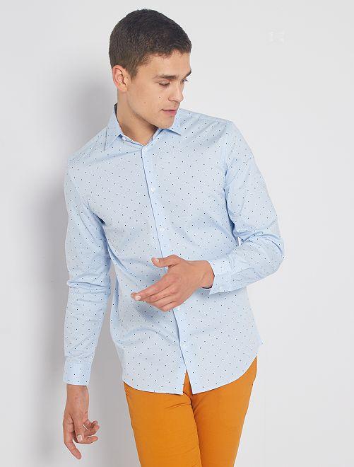 Camisa extra slim de lunares                                                                             BLANCO