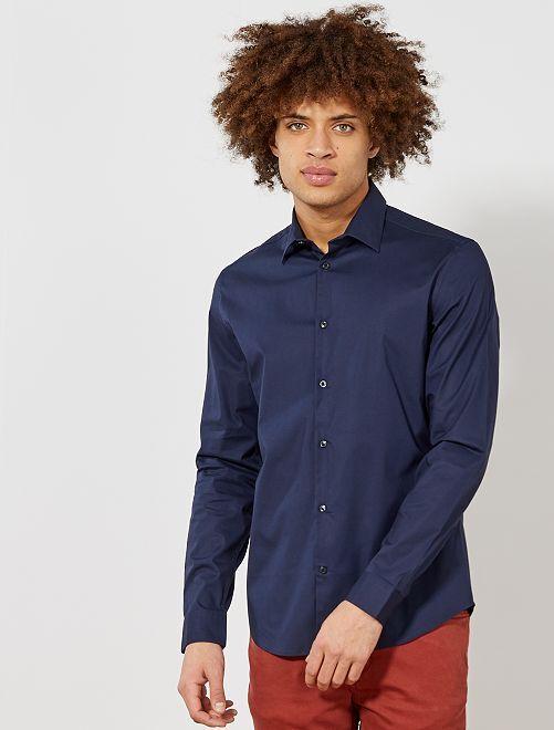 Camisa extra slim elástica                                                                 azul marino