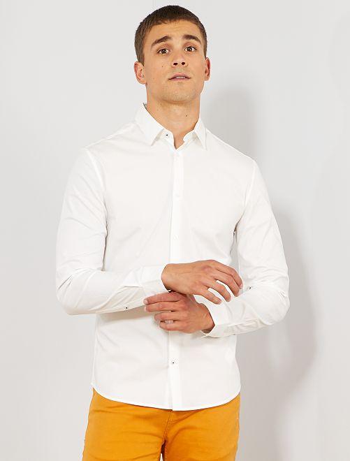 Camisa extra slim elástica                                                                 blanco