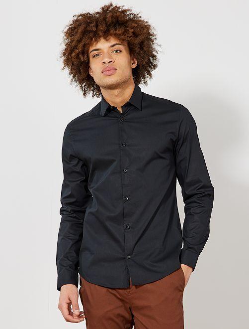 Camisa extra slim elástica                                                                             negro