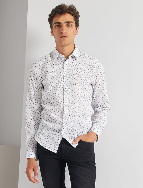 Camisa fitted con micromotivo                                         BLANCO