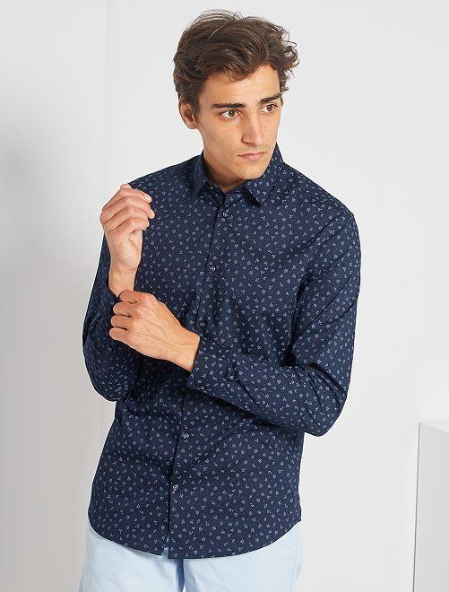 Camisa slim de popelina                                 GRIS